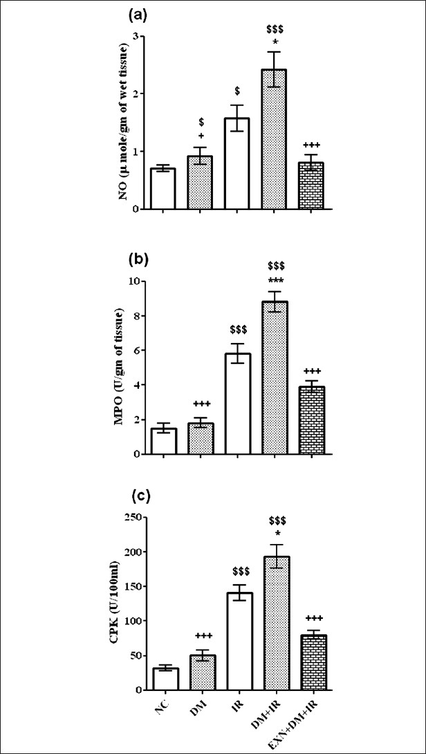 Figure 4 : Effect of exenatide on nitric oxide (a), myeloperoxidase (b) and serum creatinine phosphokinase activity (c) after renal IR in diabetic rats. Values are mean ± SEM (n= 6), analyzed by one-way ANOVA followed by Bonferroni multiple comparisons test. $,*,+ P < 0.05; $$,**,++ P < 0.01; $$$,***,+++ P < 0.001. $Compared with normal control, *Compared with IR, + Compared with DM+IR group